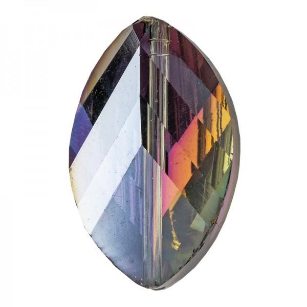 Perlen, Blatt, 1,3cm x 2,1cm, facettiert, rosé-grün changierend, 8 Stück