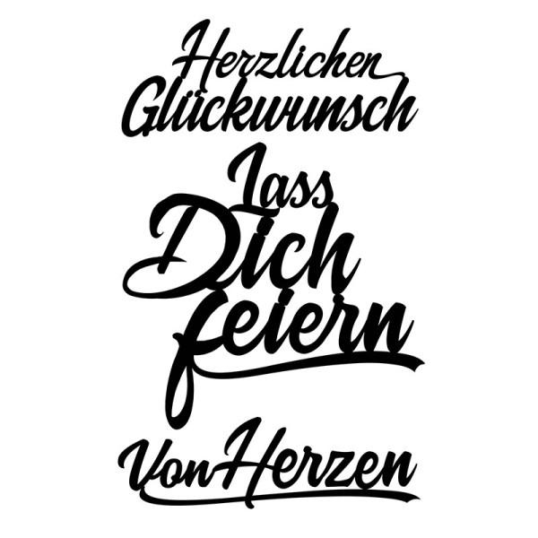 Stanzschablonen, Schriften, Glückwünsche 2, 2,8cm bis 8,2cm, 3 Stück