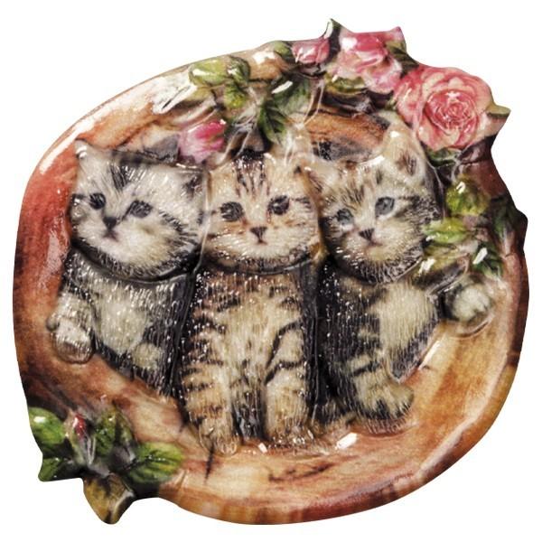 Wachsornament Katzen 10, farbig, geprägt, 7-8cm