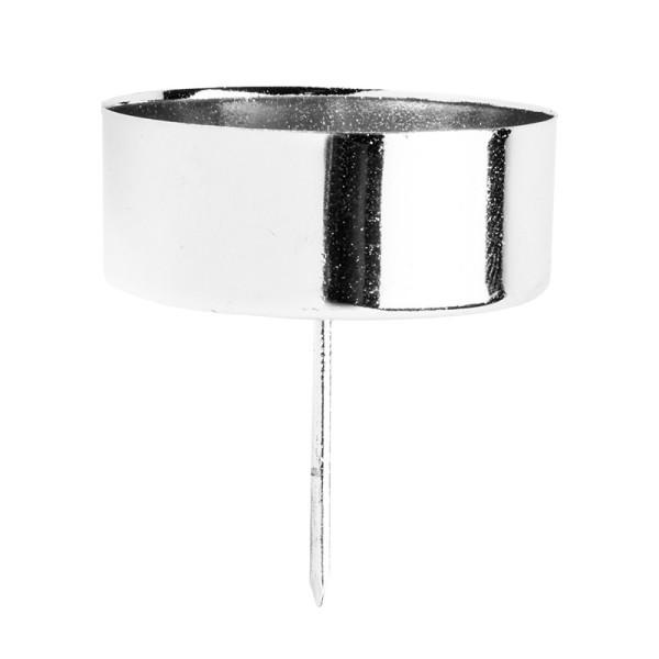 Teelichthalter zum Stecken, Ø 4,2cm, silber glänzend, 4 Stück