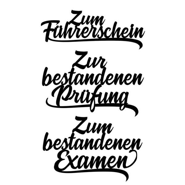 Stanzschablonen, Schriften, Zur bestandenen Prüfung, 2,9cm bis 8,5cm, 3 Stück