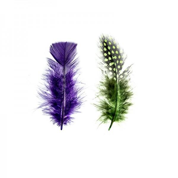Premium-Flausch-Federn Duo, schlicht & gesprenkelt, 10g, grün, blau, violett