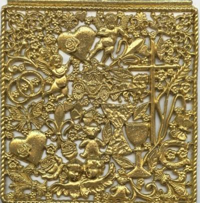 Wachsornament-Platte Festliche Anlässe,ca. 16 x 16 cm, gold mit Glimmer