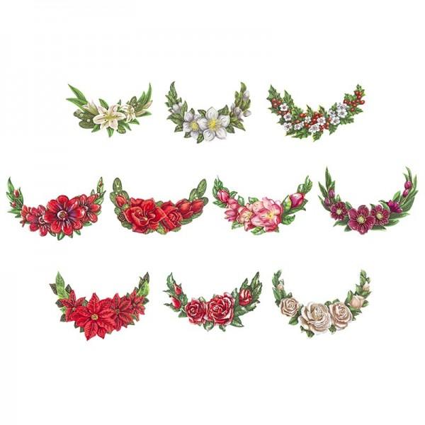 3-D Motive, Winterblumen im Halbkreis, Gold-Gravur, 7-13,5cm, 10 Motive