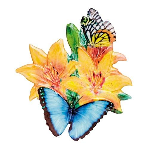 Wachsornament Blumen & Schmetterlinge 2, farbig, geprägt, 7cm