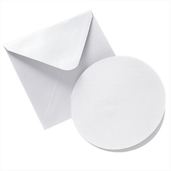 8er Perlmutt-Karten-Set, rund, Ø13cm, inkl. Umschläge, weiß