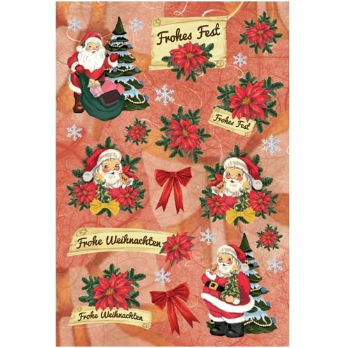 3-D Stickerbogen, Frohe Weihnachten, 12,5 x 18,5 cm