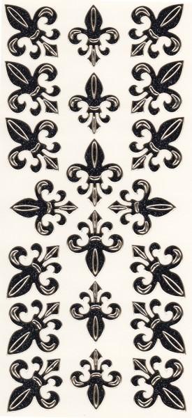 Microglitter-Sticker, Französische Lilie, anthrazit
