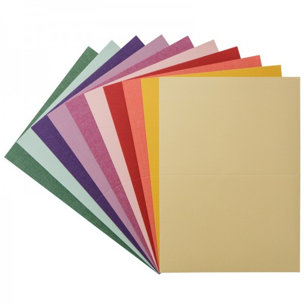 Leicht geprägte Perlmutt-Doppelkarten + Umschläge, DIN B6, bunt, 10 Stück