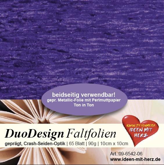 DuoDesign Faltfolien, Seiden-Optik, 10cm x 10cm, 65 Blatt, violett