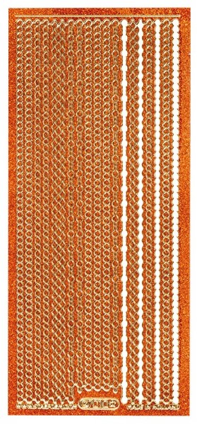 Microglitter-Sticker, Perlen-Bordüren, 3mm, orange