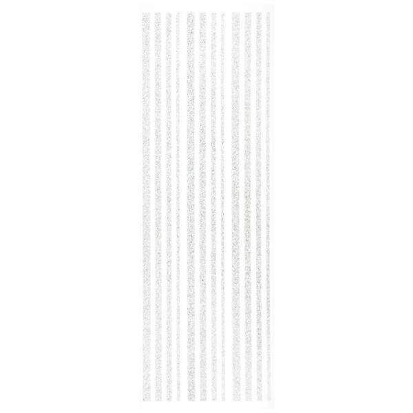 Glitzer-Bordüren, Sticker-Linien, 30 cm lang, 3-6 mm, weiß