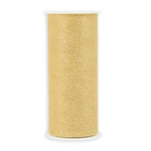 Deko-Tüll-Band mit Glimmer, 12 cm x 5 m, gold