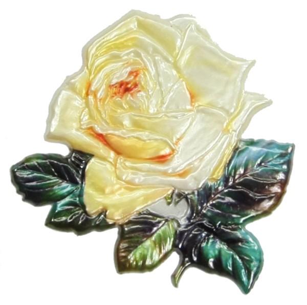 Wachsornament Rose, gelb, geprägt, 8 x 7 cm