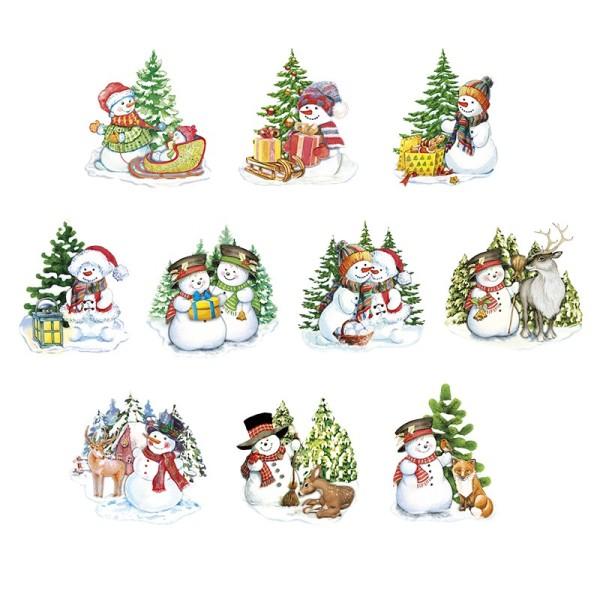 3-D Motive, Fröhliche Schneemänner, 6-10cm, 10 Motive