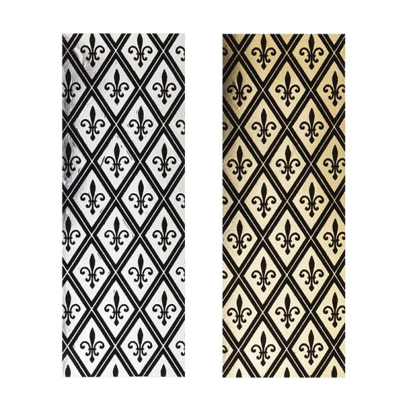 """Stoffe Royal """"Französische Lilie"""", selbstklebend, 10 x 29 cm, 2 Stück, gold/schwarz & silber/schwarz"""
