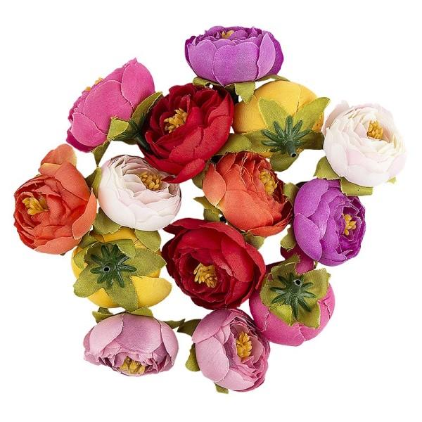 "Deko-Blüten ""Ranunkel 2"", Ø 4cm, verschiedene Farben, 14 Stück"