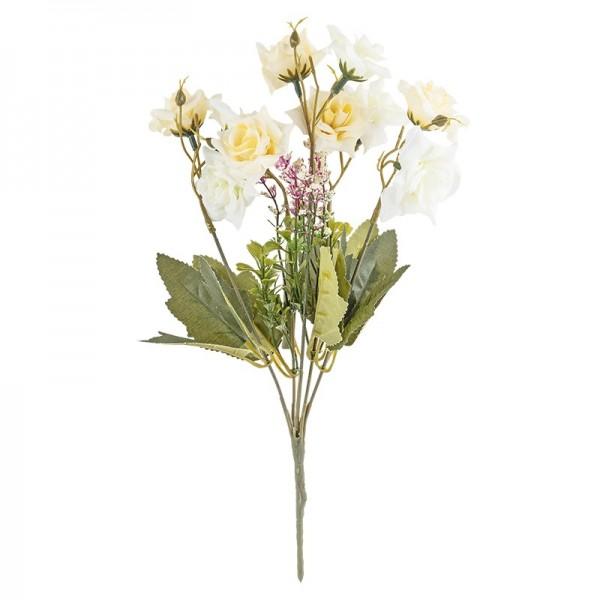 Blütenbusch, Rosen 3, 30cm hoch, 10 große Blüten, Ø 4cm, weiß