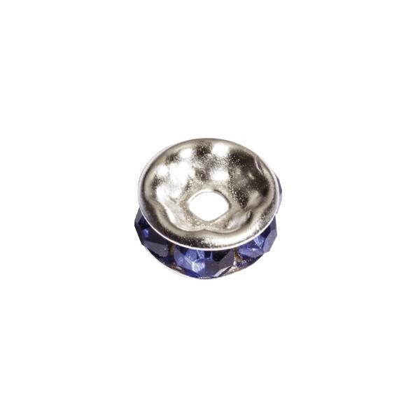 Strass-Rondell mit Strass-Steinen, Ø0,8 cm, 10 Stück, silber/saphir