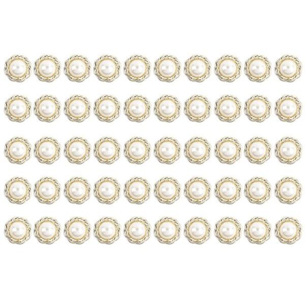 Premium Schmucksteine, Perlen-Zierstein 2, Ø 1,7cm, hellgold, perlmutt, 50 Stück