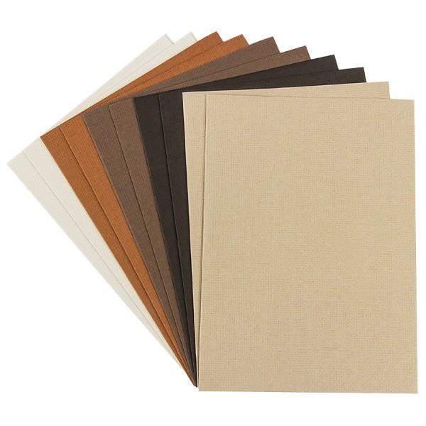 """Grußkarten """"Anna"""" in Leinen-Optik, C6, 5 Farben, Creme-/Brauntöne, inkl. Umschläge, 10 Stück"""