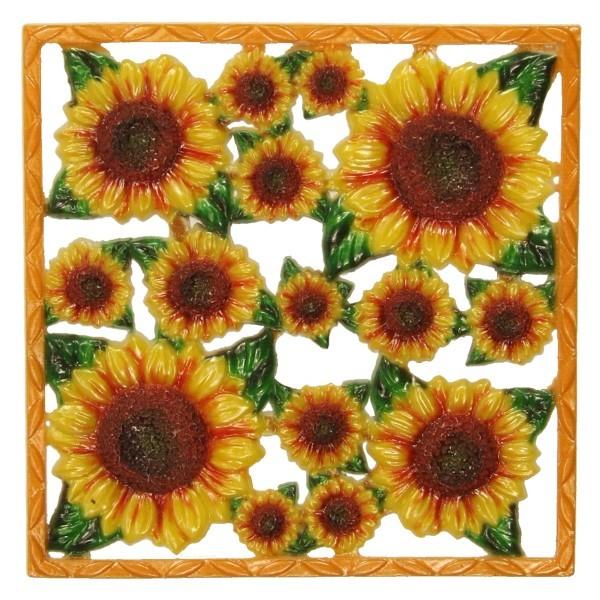 Wachsornament-Platte Sonnenblumen, 10 x 10 cm