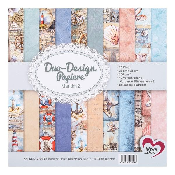 Duo-Design-Papiere, Maritim 2, beidseitig bedruckt, 25cm x 25cm, 250g/m², 20 Blatt