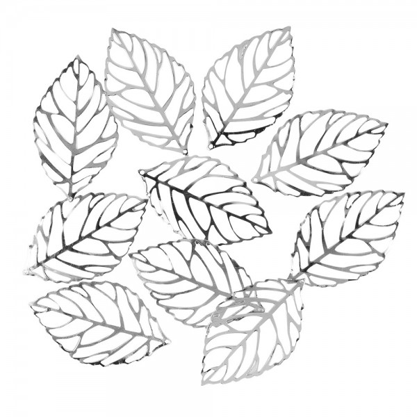 Metall-Ornamente, Blatt 10, 5,4cm x 3,1cm, silber, 10 Stück