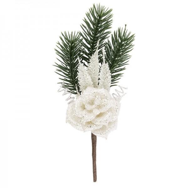 Deko-Tannenzweig, Eisblüte 2, 16cm lang, beschneit