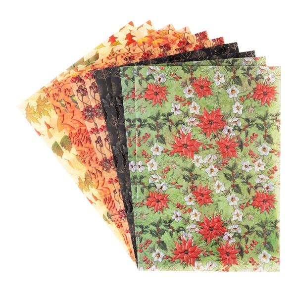 Motiv-Transparentpapiere Deluxe, Herbst- & Winter-Floristik, DIN A4, versch. Designs, 10 Bogen