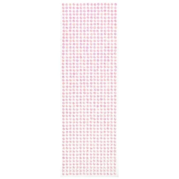 Schmuckstein-Bordüren, selbstklebend, facettiert, irisierend, Ø5mm, 29cm, 16 Stück, rosa