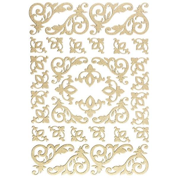"""3-D Sticker """"Deluxe Eckornamente"""", verschiedene Größen, selbstklebend, gold"""