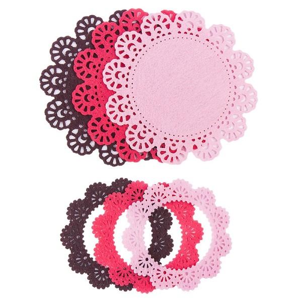 Folia Filzrähmchen, rosa/pink/braun, Ø 7cm & 10cm, 6 Stück