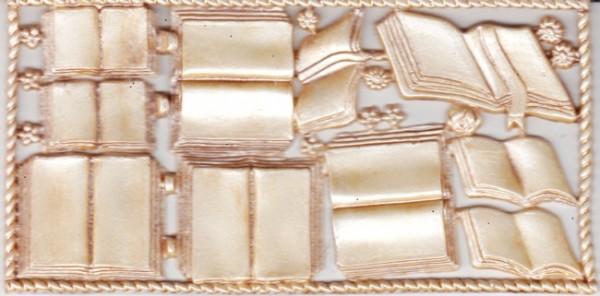 Wachsornamente-Platte Bücher, 16 x 8 cm, creme/braun-patiniert