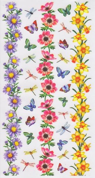 Rubbel Sticker Bogen, Blumenbordüren 5
