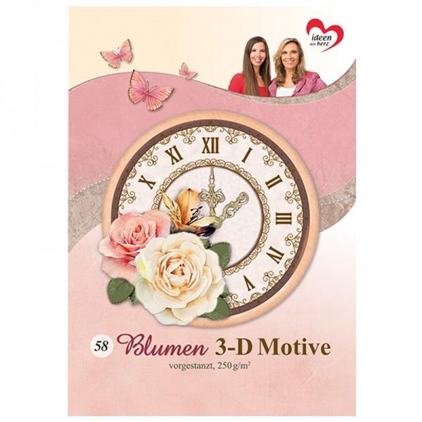 Bastelbuch: Blumen 3-D Motive, 58 Motive auf 20 Stanzbogen, DIN A4