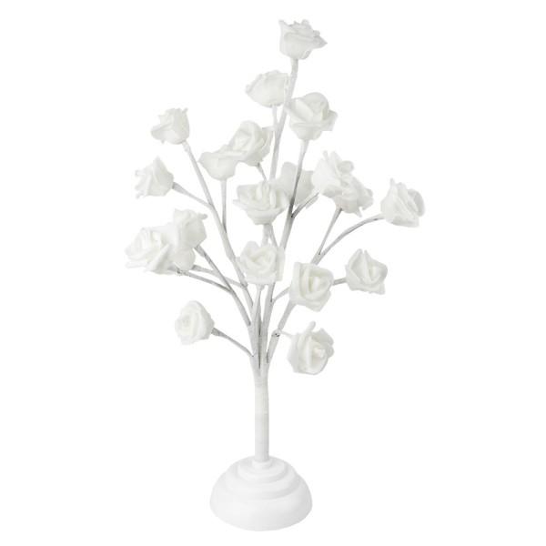LED-Baum mit Rosen, weiß, 40cm hoch, 20 LED-Lämpchen in Warmweiß, Timer