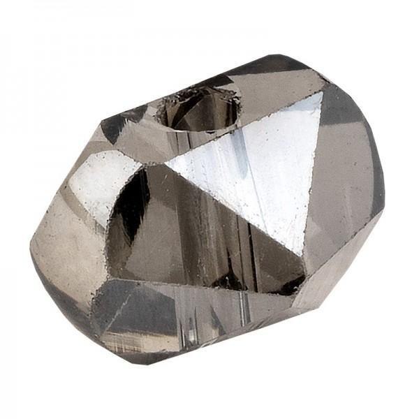 Perlen, Raute gewölbt, 6,5mm x 4,5mm x 5mm, facettiert, transparent, anthrazit, 45 Stück