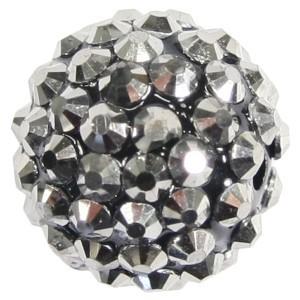 Kristall-Perlen, Ø18 mm, 5 Stück, anthrazit-irisierend