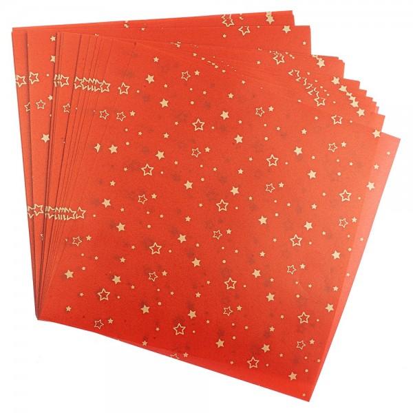 Faltpapiere, transparent, Sterne, 20cm x 20cm, 110 g/m², rot/gold, 100 Stück