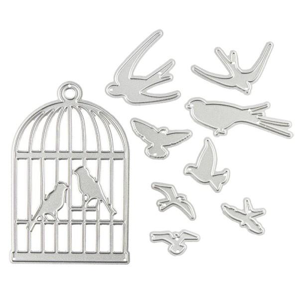 Stanzschablone, Vogelkäfig & Vögel, 7,6cm x 4,8cm, passend für gängige Stanzmaschinen