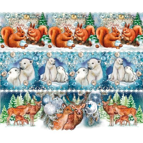 Zauberfolien, Weihnachts-Tiere, Schrumpffolien für Ø 6cm, 5,5cm hoch, 6 Stück