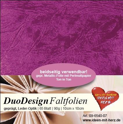 DuoDesign Faltfolien, Leder-Optik, 10 x 10 cm, 65 Blatt, magenta