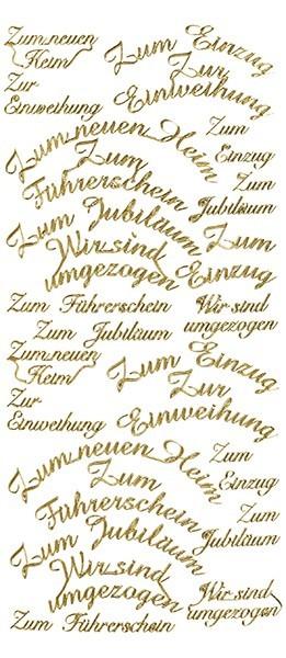 Sticker, Schrift, Einweihung, gold