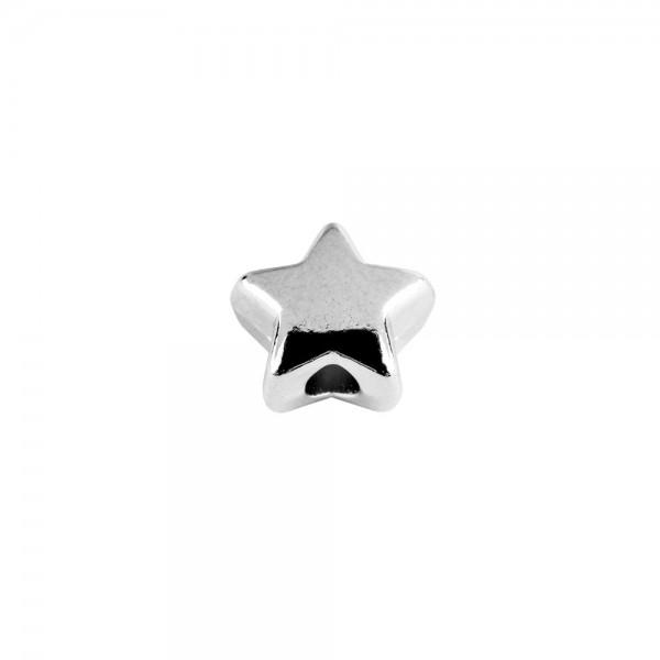 Perlen, Stern 1, flach, 0,7cm x 0,4cm, silber, 510 Stück
