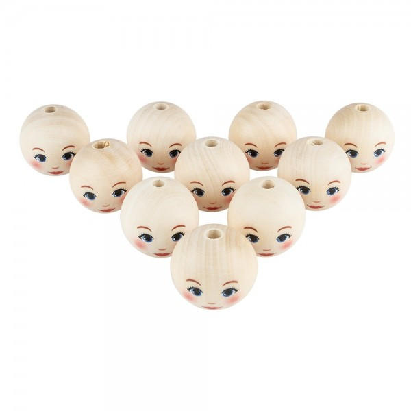 Holzkugeln mit Gesicht, Ø 4cm, mit Loch, 10 Stück