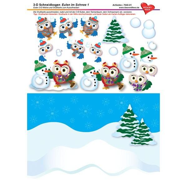 3-D Schneidbogen, DIN A4, Eulen im Schnee