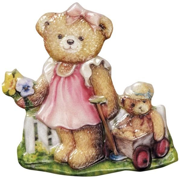 Wachsornament Teddy 4, farbig, geprägt, 7-8cm