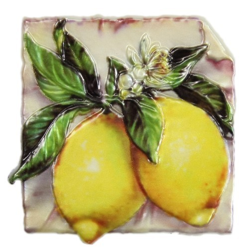 Wachsornament, Zitronen, farbig, geprägt, 7,5x7,5cm