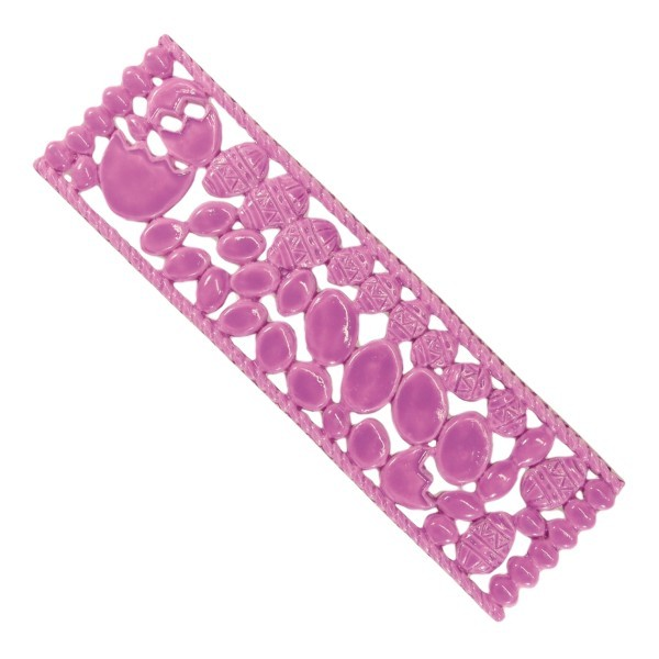 Wachsornament-Platte Ostereier, 5 x 16 cm, rosa